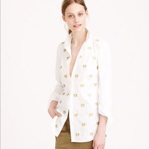 J crew embroidered gold heart button up shirt